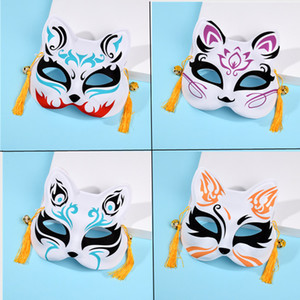Half mask face cat fox hand-painted Japanese anime feng male female children's dance party supplies