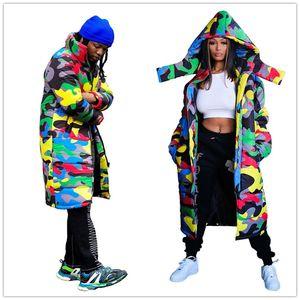 Mulheres Homens de algodão acolchoado roupa morna cor Camuflagem Moda Thick Inverno com capuz com zíper longo Pão Coats Cotton Wadded F110405 Jacket