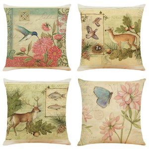 Creative Garden Linen Cushion Covers Home Office Sofa Square Pillow Case Decorative Pillow Covers Without Insert (18*18Inch)