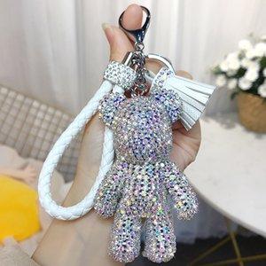 bande dessinée créative complète diamant ours houppe voiture trousseau pendentif mignon sac mâle et femelle porte-clés mignon cadeau de Noël cadeau GWB2453