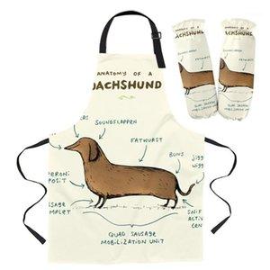 Anatomy of Dachshund Fronon Кухня бытовой уборки Pinafore Puaring Аксессуары для приготовления фартуки Кухонные фартуки для женщины1