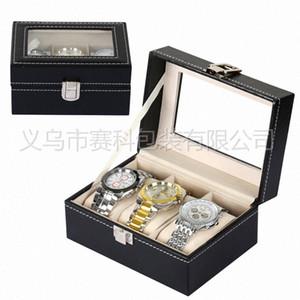 Vérifier et cadeau Case fente rouleau 3 Marque Montres Bijoux Collier Montre en cuir Bracelet boîte Sac Montre Boîte de rangement en ligne Coffret Fro K6KE #