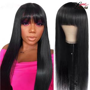 Brazilian Straight Human Hair Wigs With Bangs Full Machine Made Human Hair Wigs For Women 150% Human Hair Wig