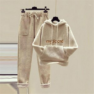 New Plus size women hoodies and pants 2 piece set ladies letter print pocket warm thicken pullover sweatshirts high waist suits1