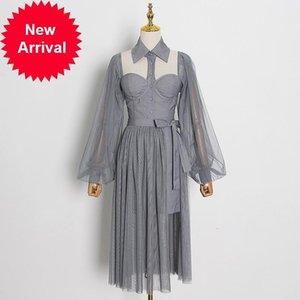 Новый прилив 2021 знаки осенний слоеный дизайн измельченный вязаный крючком съемное сексуальное деволючное элегантное праздничное вечеринка платье 2 кж