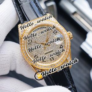 Nuevo 36 mm DateJust Fecha de día 118389 ETA 2836 Reloj automático para hombre Dial de diamante completo Rosa Diamante Caja de diamante Relojes de cuero Hwrx Hello_Watch