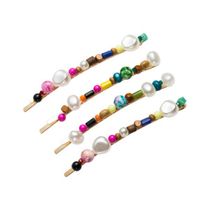 Women Luxury Jewelry One Word Hairpins Imitation Diamond Colorful Handmade Beading Hair Clip Decorative Hair Styling Accessories