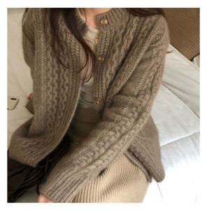 Fall Winter New Style Cashmere Sweater Cardigan Women Loose Lazy O-neck Twist Cardigans Knitted Jacket