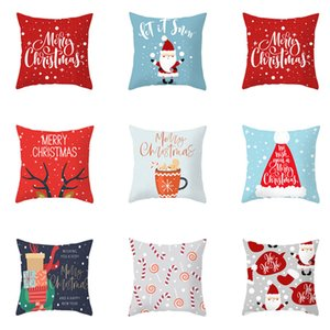Christmas Cushion cover 45*45 Pillowcase sofa Cushions Pillow cases Cotton Linen pillow covers Xmas Santa Claus Decor for home120pcs T1I2626