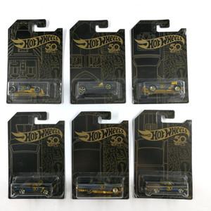 뜨거운 휠 자동차 컬렉터의 블랙 골드 판 50 주년 기념 금속 다이 캐스트 자동차 컬렉션 어린이 장난감 선물 6pcs / 세트 LJ200930