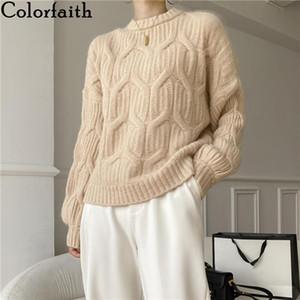 Colorfaith New 2020 Outono Inverno Mulheres Suaves Sólidos Estilo Coreano Estilo Coreano Sublanças Pullovers Casual Knitwear Pink Tops SW1041