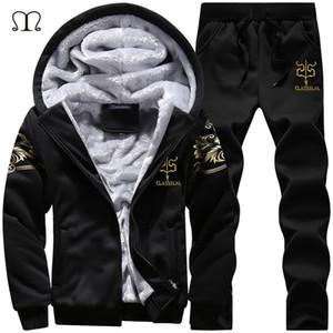 Winter Thick Inner Wool Hoodie Men Hat Casual Warm Suit Men Zipper Active Suits For Men Outwear + Pants Moletons Masculino 2019 1004