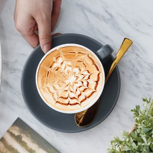 220ml Keramik Kaffeetassen Latte Cappuccino Tassen Nachmittag Tee Becher mit Untertasse Geburtstag Kaffeetasse Set HHA3428
