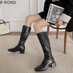 SE pelle IFOND Inverno Alto Stivali Donne Piazza Vintage Heel Zipper all'altezza del ginocchio quadrati di avvio scarpe a punta