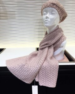 Women Pink Knit Cashmere Hat and Scarf Set Winter Warm Beanie Hat Scarf Shawl Stole Cashmere Set with box