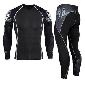 Men's Long Johns Compression Suit Men Crossfit Leggings MMA GYMS T-shirt Trousers Fitness Tights Tracksuit Sportswear For Men