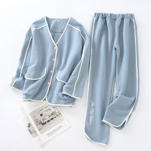 New Autumn and Winter Leisure Tops Women's Long-Sleeved Trousers Cotton Thick Air Layer Solid Color Warm Simple Pajamas Set 201022