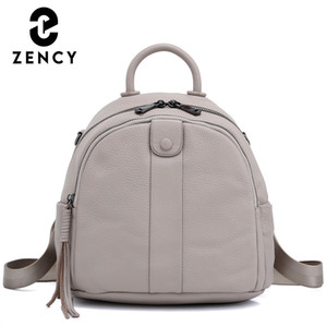 Zency 100% Genuine Leather Backpack New Design Splittable Strap Bag Girl Classic Back To School Back Pack Simple Casual Bags