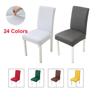Grey Black Chair Covers Solid Elastic Stretch Seat Chair Covers Protector for Hotel Banquet Wedding White Cover