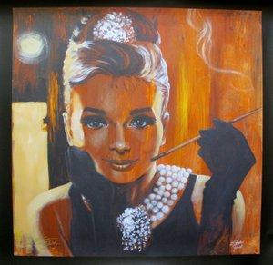 STEPHEN FISHWICK Audrey Hepburn Decoração Artesanato / HD impressão pintura a óleo sobre tela Wall Art Canvas Pictures Wall Decor 201001