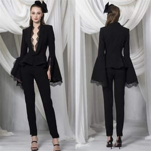 Sexy Black Pant Suit for Women Deep V Neck Prom Dresses Long Sleeves Slim Fit Customise Special Occasion Dress