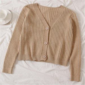 Short Cardigan Women V Neck Knitted Sweater Coat Long Sleeve Tops Single Breasted with Three Buttons Casual Cardigans ZY4514