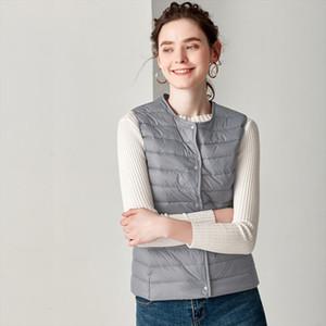 New Causal Women White Duck Down Vest Ultra Light Vest Jacket Winter Weightless Round Collar Sleeveless Coat