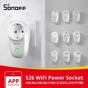 Itead Sonoff S26 Wifi Smart Plug Commutateur UE-E / UE-F / UK / AU / Etats-Unis / BR / IT / IL / CH / CN minuterie murale Prise d'alimentation e-Welink Prises de travail avec Alexa