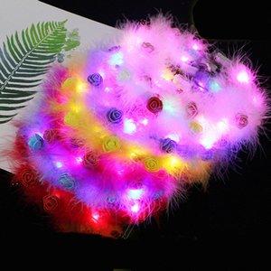 LED Tüy Hairband Işık Ebedi Garland Işık Up Saç Çelenk Noel Parlayan Çelenk Parti Çiçek Kafa Dekorasyon DDD4451