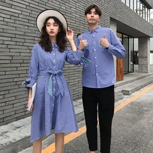 Korean couple clothing tshirts college fashion style pair lovers women summer beach dress plaid matching clothes outfit wear 40 LJ201112