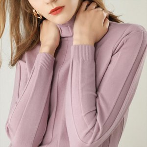 autumn winter new womens turtleneck sweater long sleeved solid color knitted pullover short paragraph wild shirt Drop Shipping
