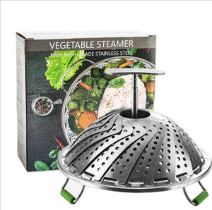 Stainless Steel Steaming Basket Folding Steamer Steam Instant Pot Multifunction Vegetable Basket Cooking Pot Kitchen Tool 9 INCH LSK1780
