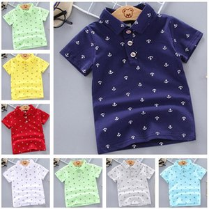 Summer polo shirts boys and girls short-sleeved shirts lapel stand-up collar cotton printing breathable top children's clothing