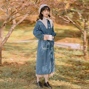 Yosimi 2021 Autunno Inverno Elegante Blue Patchwork Blue Patchwork BEIGE LUNGO Donne Lana Cappotto femminile Cappotti allentati Cappotti allentati Cappotti da taglio Giacca da colletto