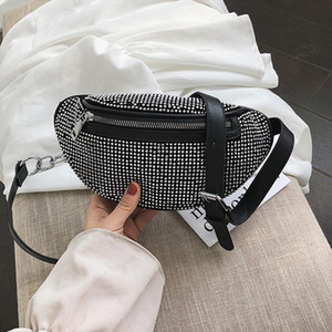 CCRXRQ Womens Waist Bags Diamonds Ladies Fanny Pack Fashion Chest Bag Banana Rhinestone Crossbody Shoulder Bags Belt Bag