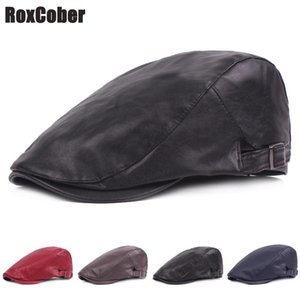 RoxCober Nouveau cuir PU plat Ivy Cap Hommes Femmes Gatsby Printemps Hat Plaid Beret Newsboy Boina Mode Golf Beret Cap