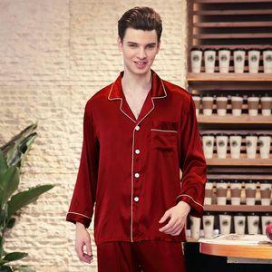 Manga larga primavera rojo pijamas hombres Leisurewear Traje Masculino Pijama Pijama Szlafrok Pantalon Hombre Ropa Hombre Szlafrok