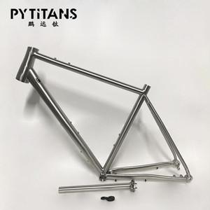 Popular bike frame Titanium Alloy GR9 titanium gravel bike frame with Seat Post for disc brake free spare derailleur hanger