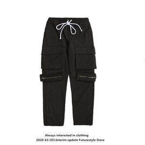 Future style national fashion brand pocket casual pants high street side-breasted pants for men