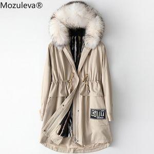 Mozuleva 2021 Otoño e invierno Mapache Mapache Mapache Dog Collar Parka Mujer Abrigo de piel