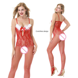 Crotchless Exotic Christmas Sexy Net Lingeries Red Lingerie Garter Set Sex Wear for Women