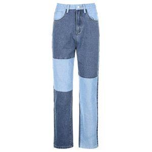 Color Block Jeans Baggy High Waist Jeans Women Vintage Denim Streetwear Female Ripped Wide Leg Joggers Straight Pants #LR3