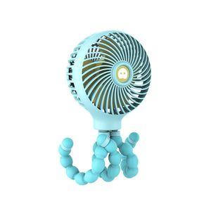 Mini Portable Hanging Octopus Shape Stand Fan 3 Speed Adjustable Handheld USB Charging Cooling Fan For Baby Stroller Student Desktop Fans