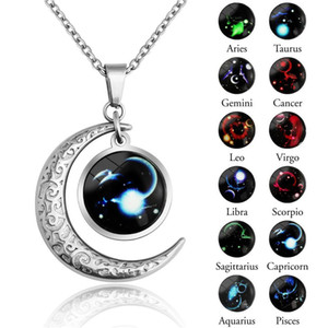 INS hiphop 12 Zodiac Signs Luminous Necklace Stainless Steel women Men Glow in the dark constellation Glass gemstone Pendant For Men Jewe