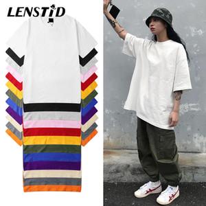 LENSTID Harajuku Plain T Shirt 2020 Лето 100% Хлопок Мужчины Белый Tshirt Streetwear вскользь Основные коротким рукавом футболки Топы Тис 1005