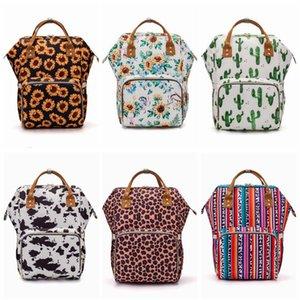 Sunflower Diaper Bag Leopard Mommy Backpack Waterproof Nappy Bag Large Capacity Travel Backpack Baby Nursing Stroller Bags DXP26