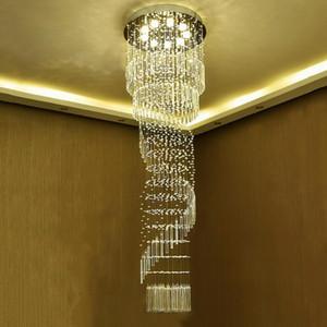Modern K9 Crystal Chandelier lights Flush Mount ceiling lamps Spiral Ladder Luxury Crystal Hanging Fixtures Crystal Chandelier