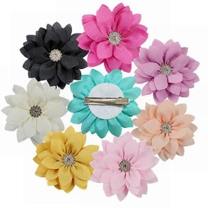 10Pcs lot Boutique Barrettes Beauty Fabrics Flower with rhinestones Hair Clips Hairpins Floral Girls DIY Headdress Accessories
