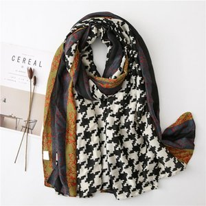 2020 autumn and winter new cotton and linen scarf female Korean version of the wild pounding bird grace stitching long shawl