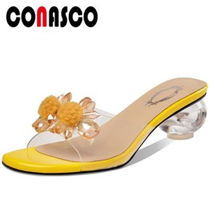 CONASCO 2020 Summer New Arrival Women Sandals Pumps Slippers High Heels Crystal Fashion Concise Casual Open Toe Shoes Woman